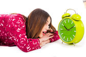 Girl looking into the alarm — Stock Photo