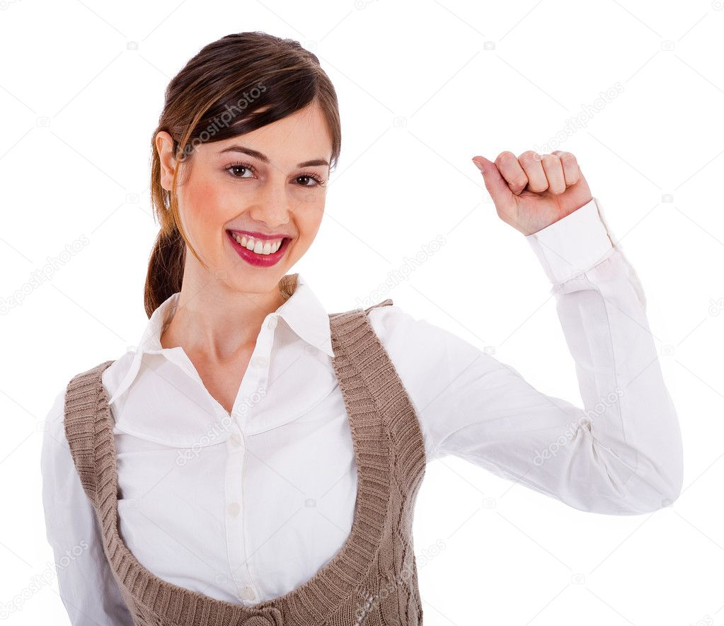 Beautiful young model raising her hand up on a isolated background — Stock Photo #1301364