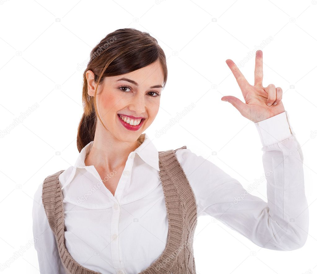 Beautiful young model raising her hand up and showing three fingers on a white isolated background — Stock Photo #1301432