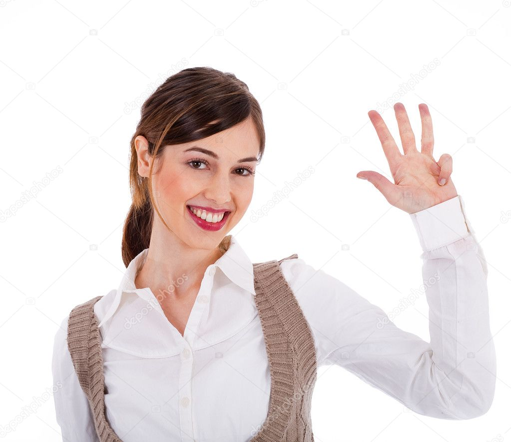 Beautiful young model raising her hand up and showing four fingers on a white isolated background — Stock Photo #1301440
