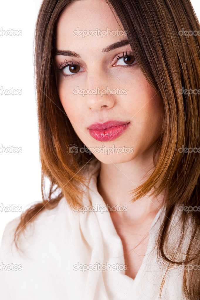 Closeup shot of  young brunette model on isolated white background — Stock Photo #1302601