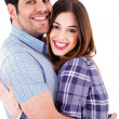 Happy lovers hug each other — Stock Photo