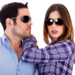 Stylish couple wearing sunglasses — Stock Photo