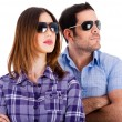 Models looking left with sunglasses — Stock Photo