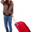 Young women traveling with suitcase — Stock Photo