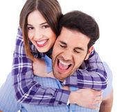 Roztomilý exotický pár šťastně se těší — Stock fotografie