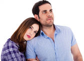 Women soothing on her boyfriend shoulder — Stock Photo