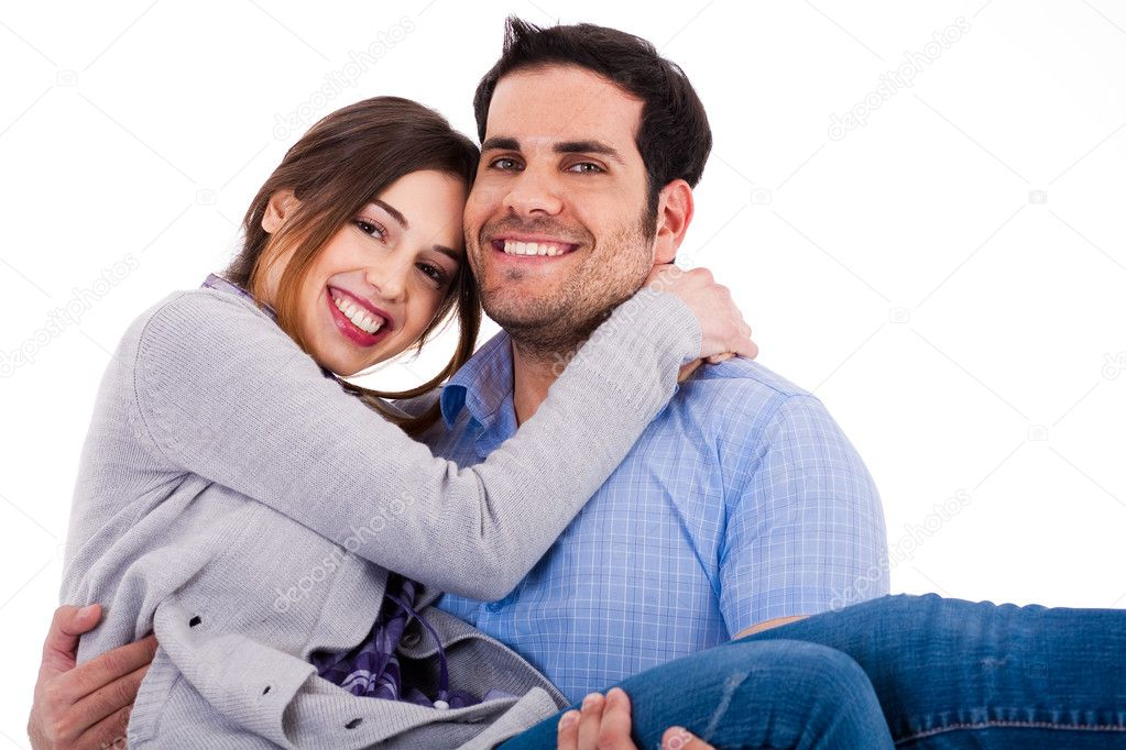 Young cheerful couples closeup shot indoor studio — Stockfoto #1330292