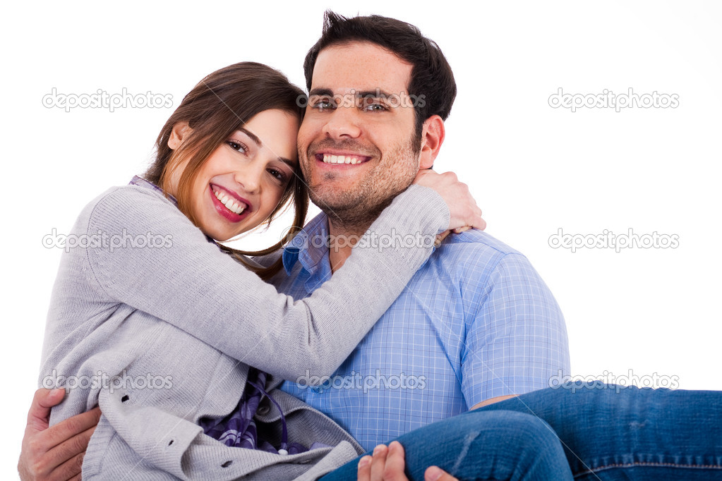 Young cheerful couples closeup shot indoor studio — Foto Stock #1330292