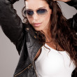 Stock Photo: Attractive model wearing sunglasses