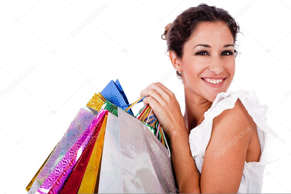 Portrait of pretty young women smiling with shopping bag on white isolated background — Foto Stock #1353939