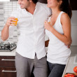 Young couple chatting while their drink — Stock Photo #1381513