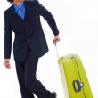 Corporate man look back with the bag — Stock Photo