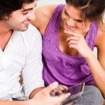 Girl listening her boyfriend deeply — Stock Photo