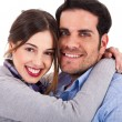 Beautiful young couple closeup shot — Stock Photo