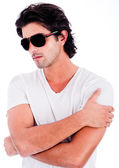Young man with black sunglasses — Stock Photo
