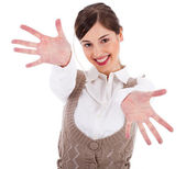 Women showing her hands wide open — Stock Photo