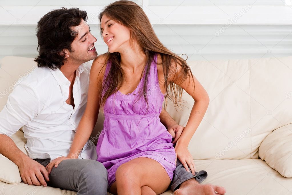 Portrait of romantic young couple  enjoying their lover in causel wear  Stock Photo #1383482