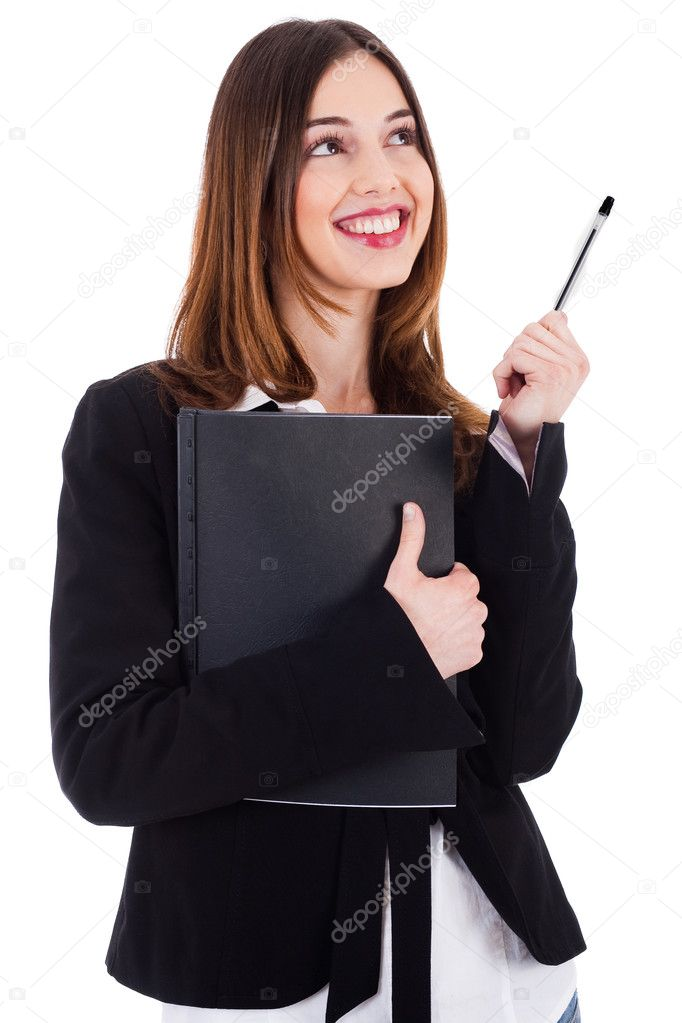 Business women carrying her file and thinking by raising her pen upwards on a white background — Stok fotoğraf #1389553
