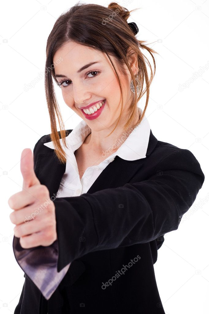 Business women showing thumbs up on a isolated white background — Stock Photo #1389955