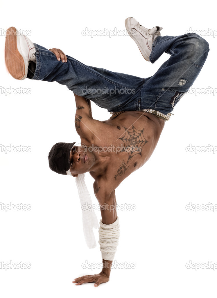 Hip-hop dancer during his move session on isolated white background — Stock Photo #1436010