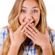 Young women covering her mouth - Foto Stock