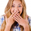 Young women covering her mouth — Stock Photo