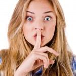 Women says ssshhh to maintain silence — Stock Photo