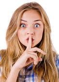 Kobiet mówi ssshhh do zachowania milczenia — Zdjęcie stockowe