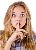 Women says ssshhh to maintain silence — 图库照片