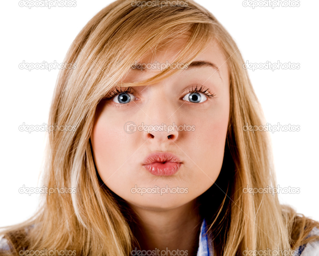 young girl give kiss to the camera