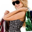 Lovely model with shopping bags — Stock Photo