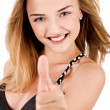 Stock Photo: Happy Young Lady Showing Thumb