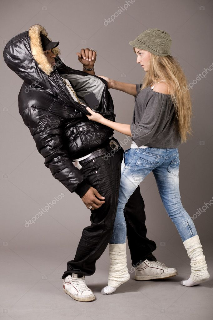 White woman fighting with her boyfriend on grey background — Stock Photo #1553699