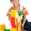 Boy playing with building blocks — Stock Photo