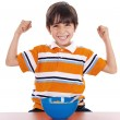 Boy shows his strength — Stock Photo
