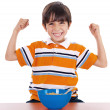 Boy shows his strength — Stock Photo #1965908
