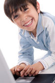 Portrait of cute caucasian boy smiling — Stock Photo