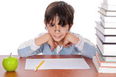 Studying boy give strange look — Stock Photo
