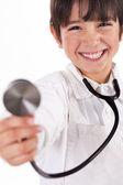 Doktůrek zobrazeno stetoskop — Stock fotografie