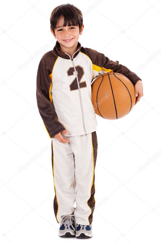 Adorable young kid in his sports dress with ball on isolated white background — Stock Photo #1965607