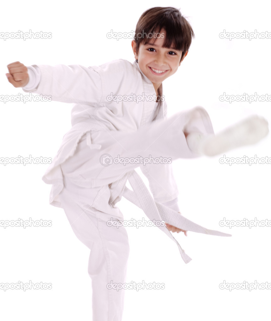 Karate boy excercising isolated white background — Stock Photo #1968248