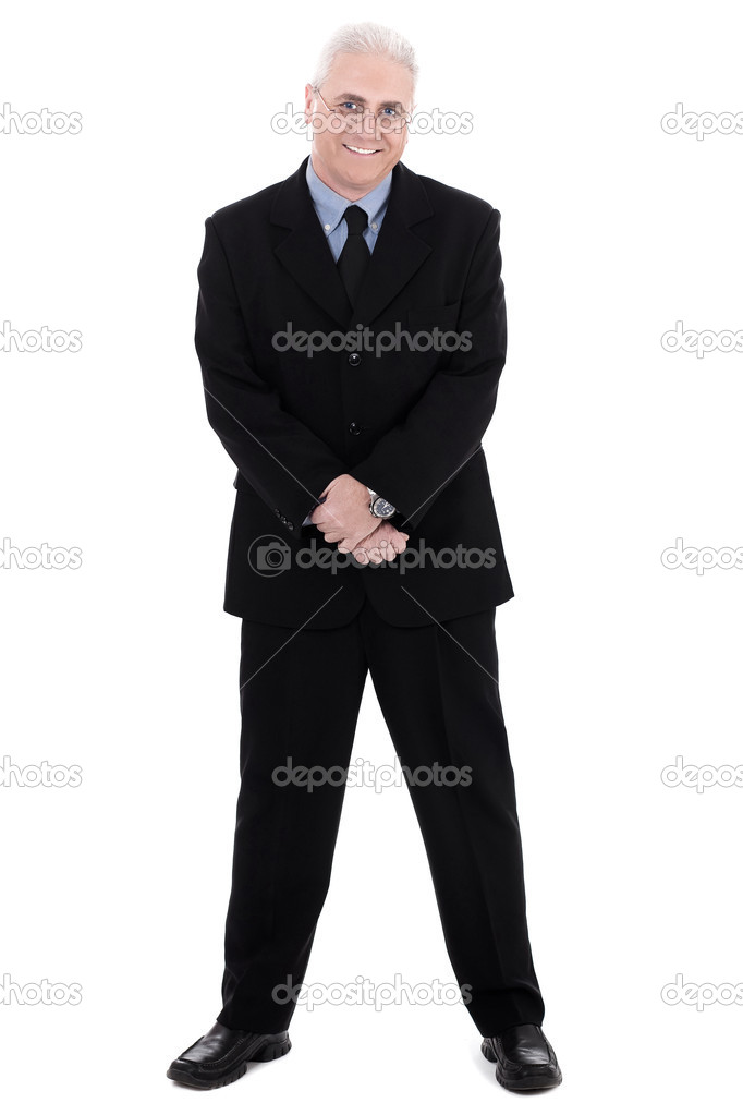 Isolated handsome mature business man standing on isolated white background — Stock fotografie #1968494