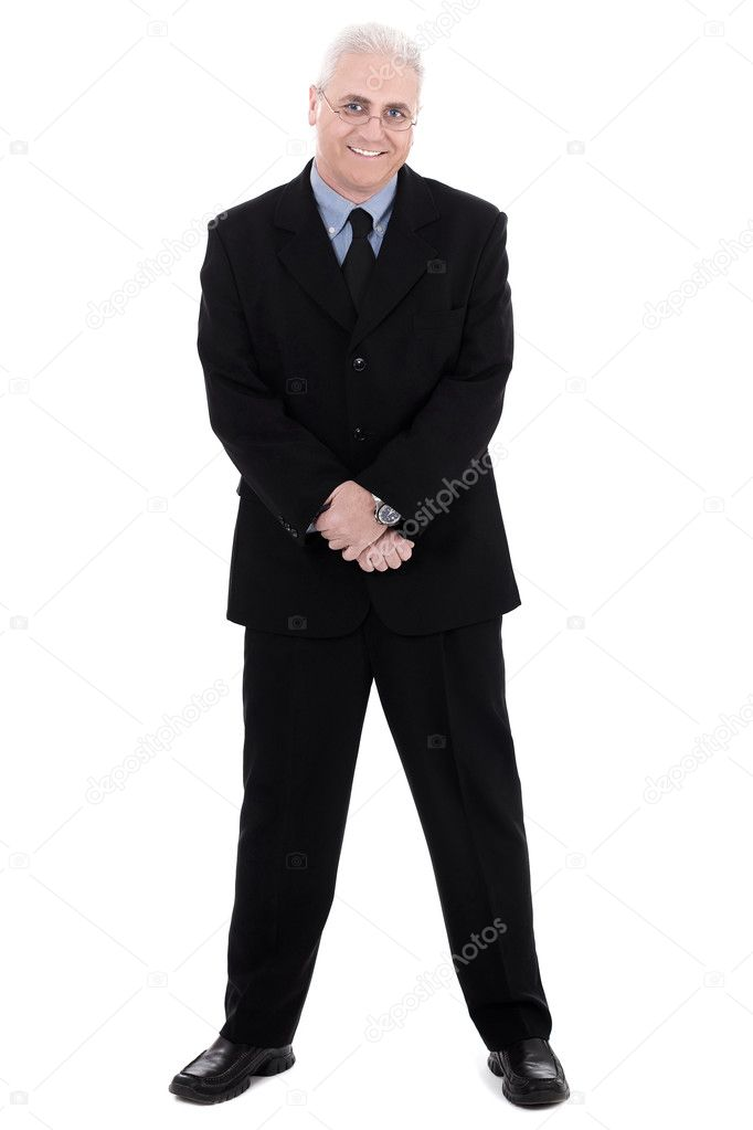 Isolated handsome mature business man standing on isolated white background  Zdjcie stockowe #1968494