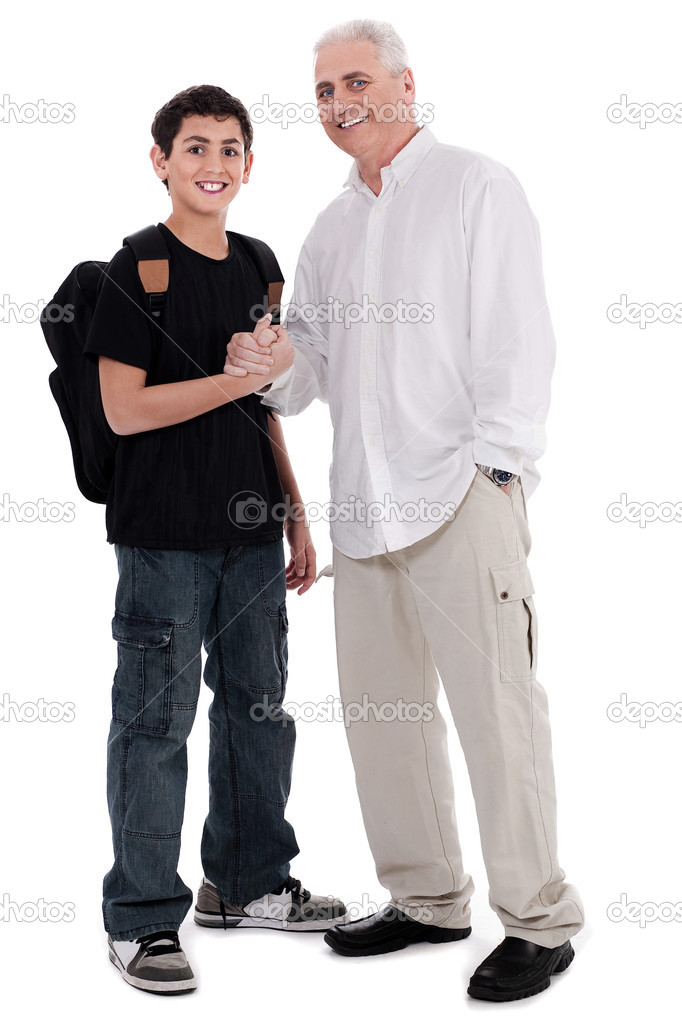 Father giving shakehand to his son on white background — Stock Photo #1969337