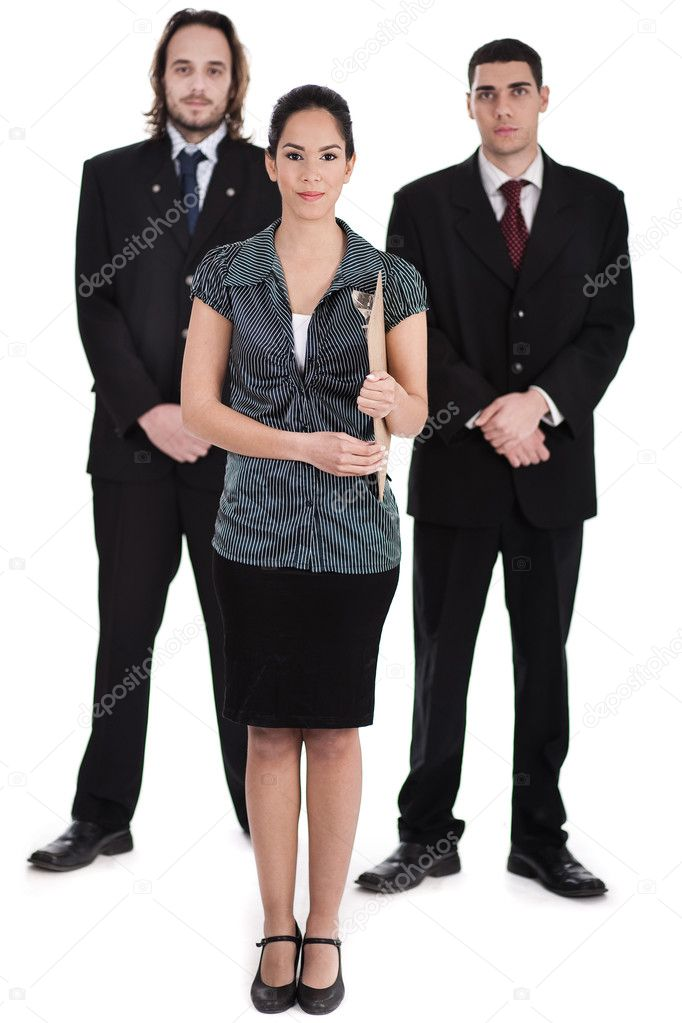 Successful business team standing over white background  Stock Photo #2007050