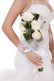 Bride with bunch of white roses — Stock Photo
