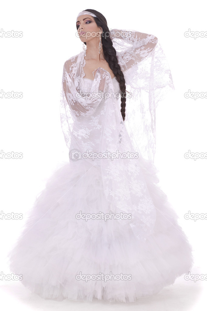 Wedding bride dressed in white dress in white background — Stock Photo #2121434