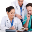 Stock Photo: Doctor team making discussion over phone