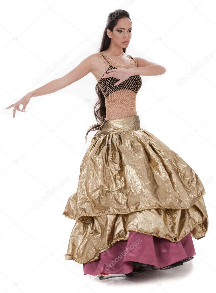 Beautiful belly dancer in rich costume over white background — Stock Photo #2180983